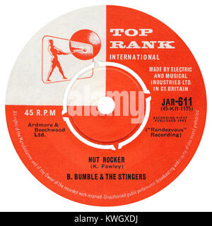 45 RPM 7' Uk record label of Nut Rocker by B. Bumble and the Stingers. Released in March 1962 on the Top Rank label. - Stock Photo