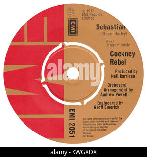 45 RPM 7' UK record label of Sebastian by Cockney Rebel. Written by Steve Harley, arranged by Andrew Powell and - Stock Photo