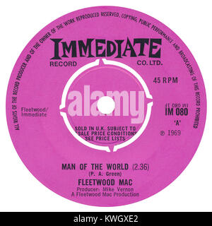 45 RPM 7' UK record label of Man Of The World by Fleetwood Mac. Written by Peter Green and produced by Mike Vernon. - Stock Photo