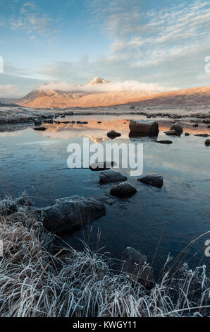A frozen Loch Ba and the Blackmount on a frosty winter's morning at Rannoch Moor - Stock Photo