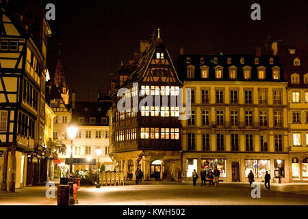 Europe/France/Alsace/Bas-Rhin/Strasbourg. La Maison Kammerzell. Extérieur nuit//Outside view at night - Stock Photo