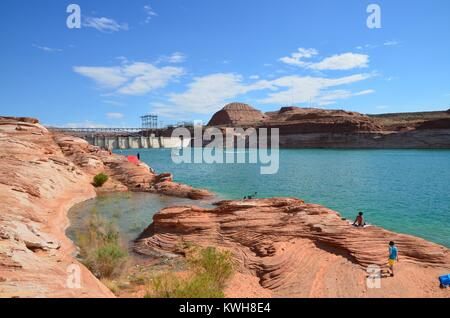 people enjoying the water at lake powell on a sunny arizona day - Stock Photo