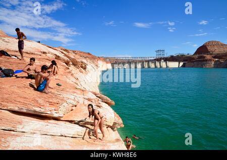 people enjoying the water at lake powell on a sunny arizona day - Stock Photo