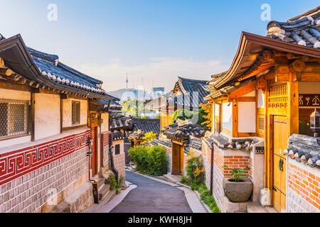 Sunrise of Bukchon Hanok Village in Seoul, South Korea. - Stock Photo