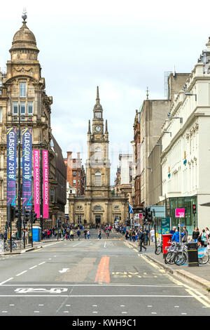 View along George Street and West George Street to St George's Tron Church in Glasgow city centre, Scotland, UK