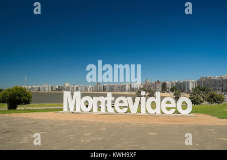 Landmark place at pocitos beach in which is located the montevideo letters, a place for tourist to take souvenir - Stock Photo
