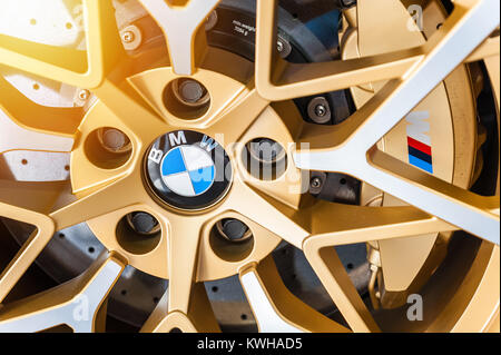 TORINO - JUN 08, 2017: Showroom. Close up af a colorful Turbomeister BMW wheel and brake system - Stock Photo