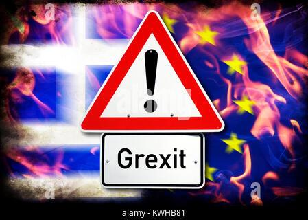Greece and EU flag in flames and danger sign, symbolic photo Grexit, Griechenland- und EU-Fahne in Flammen und Gefahrenschild, - Stock Photo