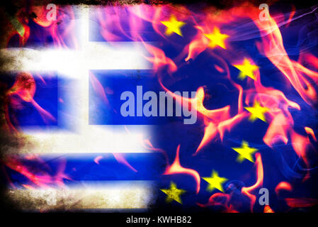 European Flag In Flames Symbolic Photo Europe After The Brexit Vote