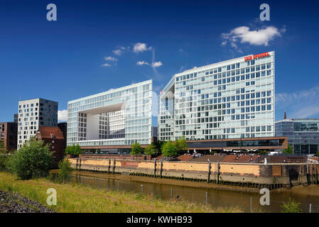 Mirror-publishing company building and Ericus-Contor in the Ericusspitze in the harbour city of Hamburg, Germany, - Stock Photo