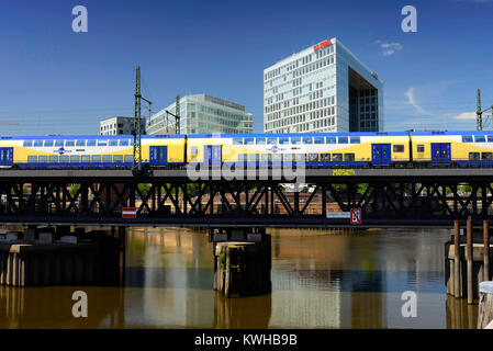 Upper harbour bridge, mirror-publishing company building and Ericus-Contor in the harbour city of Hamburg, Germany, - Stock Photo