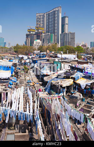 Dhobi Ghat is a well known open air laundromat in Mumbai, India - Stock Photo