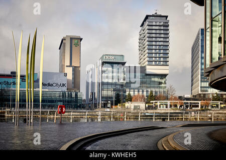 MediacityUK at Salford Quays regeneration area formerly Salford Docks - Stock Photo