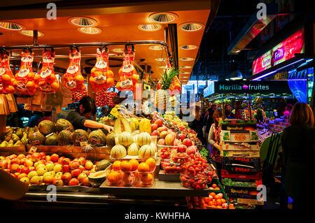Barcelona, Spain - October 27, 2015: Mercado de La Boqueria Fruits Stand in Barcelona, Spain - Stock Photo