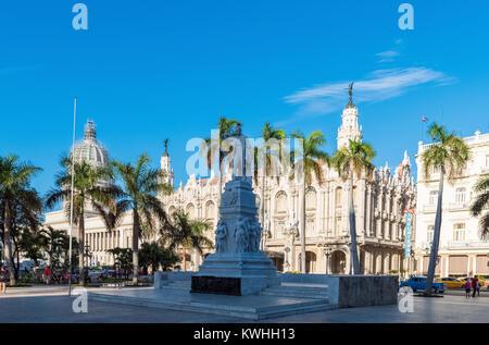 Havana, Cuba - June 27, 2017: Attraction Jose Marti Sculpture in the historical center La Habana Vieja in Havana - Stock Photo
