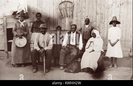 Former slave and Underground Railroad conductor Harriet Tubman (1822-1913), along with her husband, step-daughter, - Stock Photo