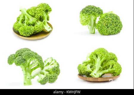 Set of fresh green broccoli isolated over a white background - Stock Photo