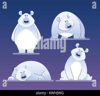 Cute polar bear - modern vector cartoon characters illustration - Stock Photo