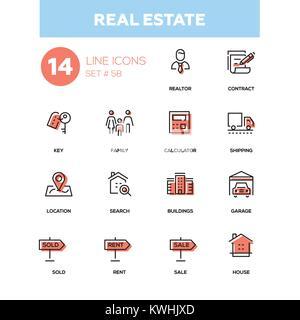 Business concept, real estate - line design icons set - Stock Photo