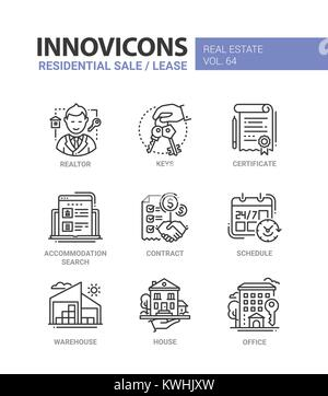 Residential sale and lease - line design icons set - Stock Photo