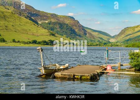 Boats on the Tal-y-Llyn in South Snowdonia, Gwynedd, Wales, UK - with Cadair Idris in the background