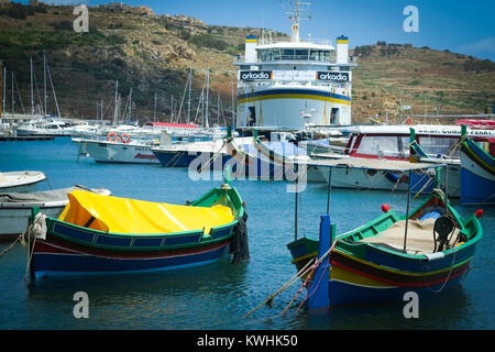 Arriving into Mgarr Port, Gozo on the Gozo Channel Company ferry from Malta - Stock Photo
