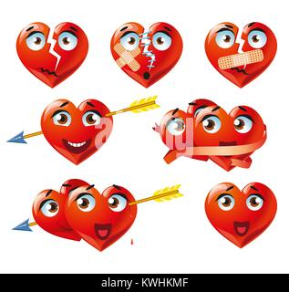 Heart smiley emoji vector for Valentines Day  Funny red face
