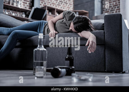 Drunk Woman Sleeping On The Sofa Stock Photo 51211233 Alamy