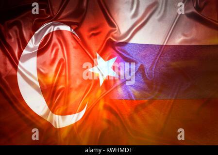Flags of Turkey and Russia, Fahnen von Tuerkei und Russland - Stock Photo