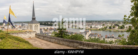 View of Saumur and the Loire river, Saumur, France, Europe. - Stock Photo
