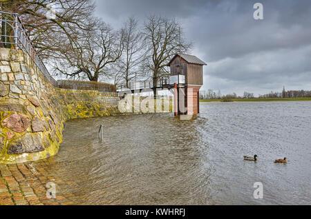 Storm flood in the Zollenspieker ferry boat-house in Kirchwerder, Hamburg, Germany, Europe, Sturmflut am Zollenspieker - Stock Photo