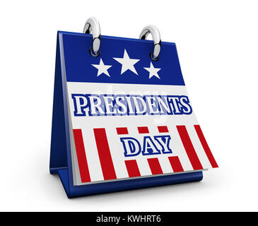 Presidents Day USA federal holiday concept with American flag colors and sign on desk calendar 3D illustration on - Stock Photo