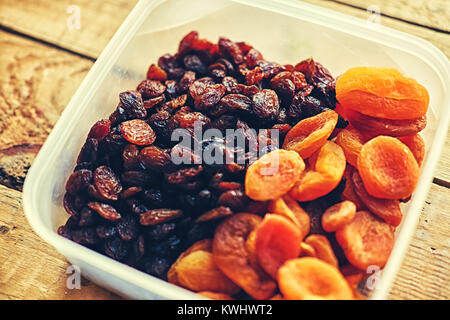 Diet food. Raisins and dried apricots - Stock Photo