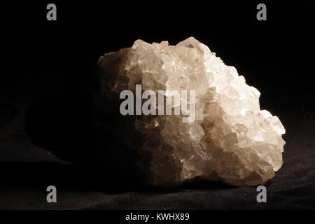 Macro of White Cubic Crystal Geology Sample. Exeter, Devon, UK. - Stock Photo