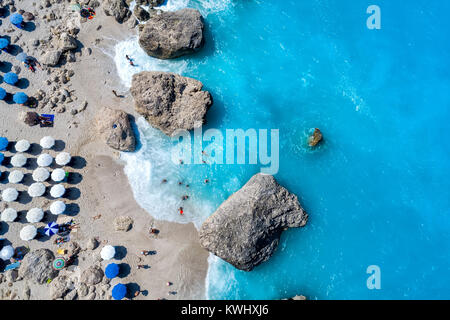 Aerial flight with drone over famous beach of Kavalikefta on the island of Lefkada in the Ionian Sea in Greece - Stock Photo