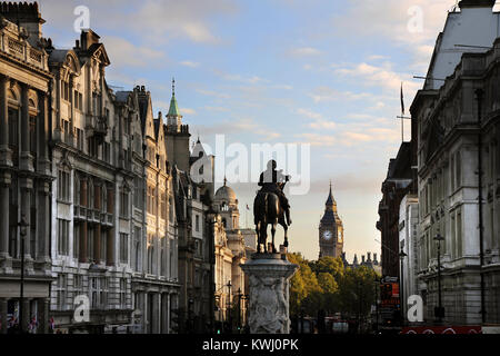 Looking down Whitehall to Big Ben from Trafalgar Square - Stock Photo