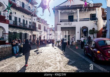Streets of Taxco de Alarcon, State of Guerrero, Mexico - Stock Photo