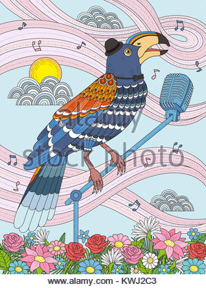 adult coloring page - toucan stand on the microphone and sing Stock ...