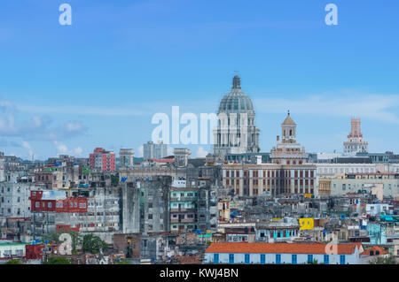 Havana, Cuba - June 27, 2017: Panorama view of the old town from la habana vieja with Capitolio view in Havana City - Stock Photo