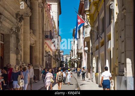 Havana, Cuba - June 27, 2017: Architecture view in Havana City Cuba  - Serie Cuba Reportage - Stock Photo