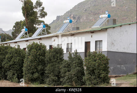 Reibeek West in the Swartland region of the Western Cape South Africa. December 2017. Farm workers cottages with - Stock Photo