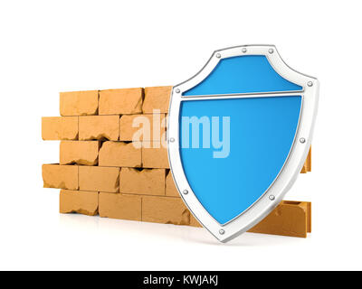 Shield and wall, firewall concept, 3D render - Stock Photo