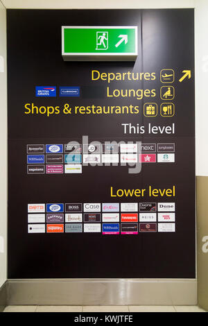 Store / shop guide for air port shopping in South terminal, London Gatwick airport. UK. (93) - Stock Photo