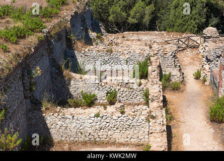 ruins of villa jovis a palace built by emperor tiberius in AD 27 on the island of capri, italy. - Stock Photo