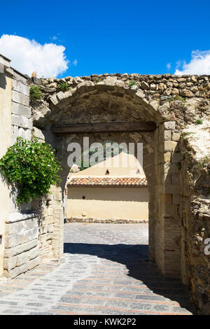 medieval gateway in the ancient village walls of savoca on the island of sicily, italy - Stock Photo