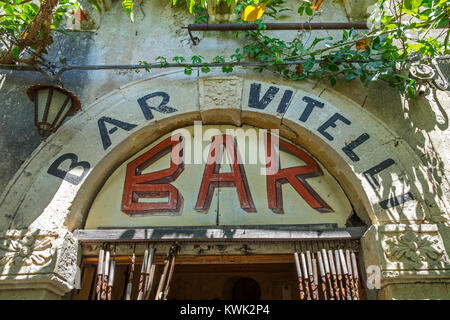 """sign over the entrance door of """"Bar Vitelli """" in savoca on the island of sicily, italy, the bar featured in the - Stock Photo"""