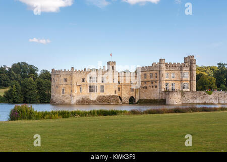 View of the exterior of Leeds Castle and moat, near Maidstone, Kent, southeast England, UK on a sunny summer's day - Stock Photo