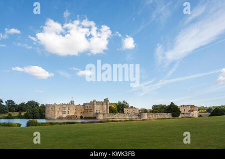Panoramic view of the exterior of Leeds Castle and moat, near Maidstone, Kent, southeast England, UK on a sunny - Stock Photo