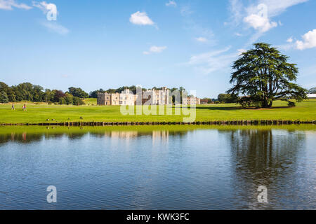 Panoramic view of the exterior of Leeds Castle, near Maidstone, Kent, southeast England, UK on a sunny summer's - Stock Photo