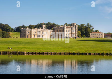 View of the exterior of Leeds Castle, near Maidstone, Kent, southeast England, UK on a sunny summer's day with blue - Stock Photo